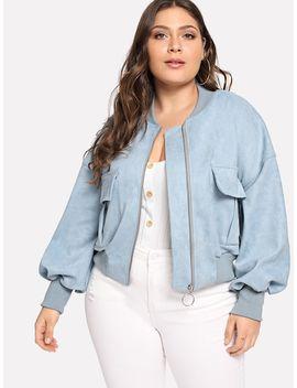 Plus Plain Crop Jacket by Sheinside