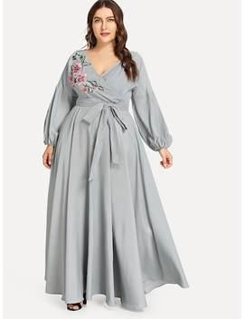Plus Flower Applique Lantern Sleeve Wrap Dress by Shein