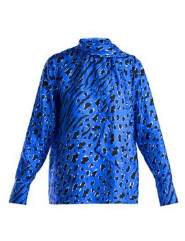 Leopard And Tiger Print Silk Blouse by Valentino