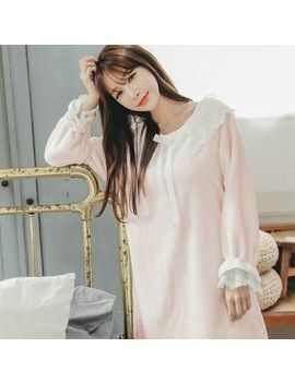 Mayonnaise   Long Sleeve Lace Trim Nightdress by Mayonnaise