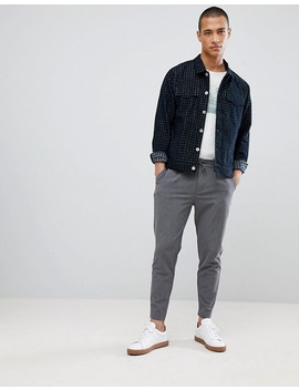 Fo R Trucker Jacket In Navy Check by Fo R