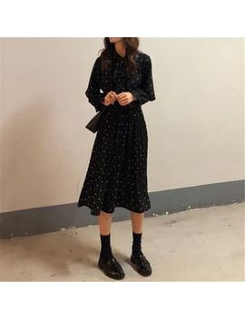 Shinsei   Long Sleeve Dotted Midi A Line Dress/ Mini Dress by Shinsei