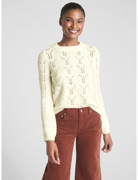Pointelle Crewneck Pullover Sweater by Gap