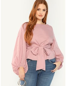 Plus Pearl Detail Lantern Sleeve Knot Top by Shein