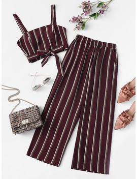 Plus Knot Front Striped Top & Pant by Sheinside