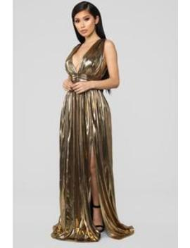 I'm His Queen Maxi Dress   Gold by Fashion Nova