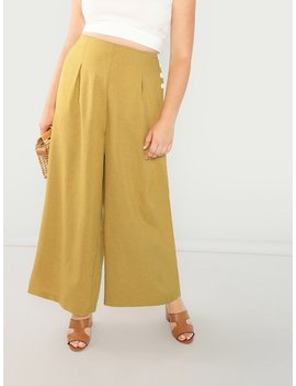 Plus Buttoned Side Wide Leg Pants by Shein