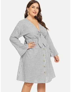 Plus Knot Front Striped Dress by Sheinside