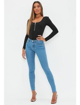 Blue Sinner High Waisted Skinny Jeans by Missguided