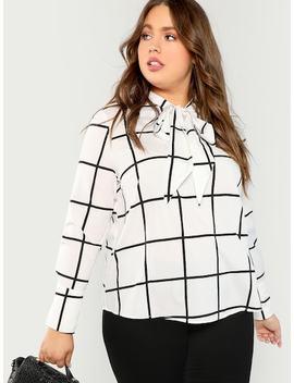 Plus Tie Neck Grid Blouse by Shein