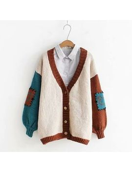Kawaii Fairyland   Color Block Patched Knit Cardigan by Kawaii Fairyland