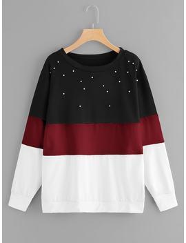 Plus Pearl Beaded Color Block Sweatshirt by Sheinside