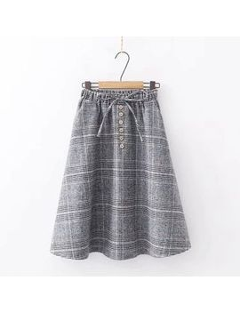 Kawaii Fairyland   Drawstring Plaid Midi A Line Skirt by Kawaii Fairyland