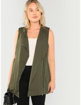 Plus Zipper Up Drawstring Waist Vest by Shein