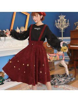 Moriville   Corduroy Midi Jumper Skirt by Moriville