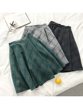 Diyi   Plaid High Waist Midi Flared Skirt by Diyi