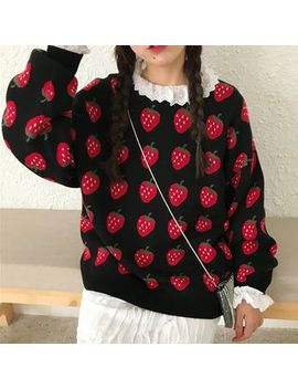 Dute   Strawberry Pattern Sweater / Frill Trim Blouse / Frill Trim Midi Skirt by Dute