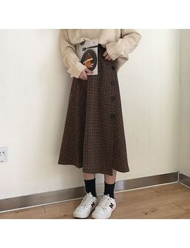 Moon City   Buttoned A Line Midi Skirt by Moon City