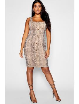 Plus Snake Print Button Through Dress by Boohoo