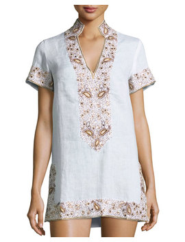 Viceroy Beaded Linen Short Coverup Tunic, White by Flora Bella