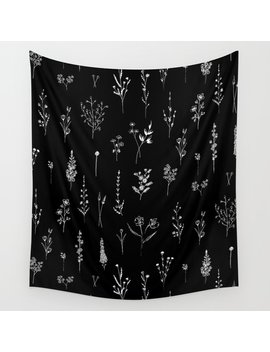 Black Wildflowers Wall Tapestry by