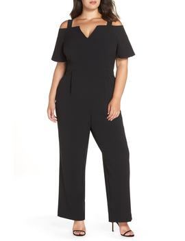 Cold Shoulder V Neck Jumpsuit by Eliza J