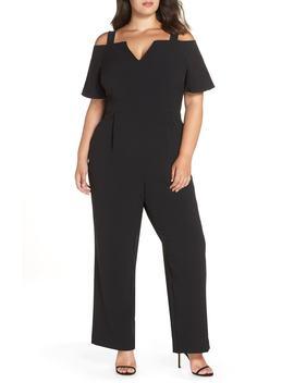 cold-shoulder-v-neck-jumpsuit by eliza-j