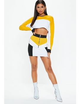 Black Colour Block Mini Skirt by Missguided