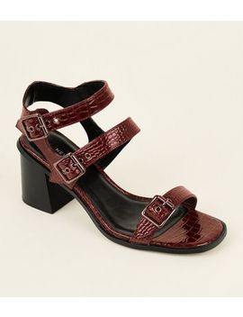 Wide Fit Dark Red Patent Faux Croc Buckled Sandals by New Look