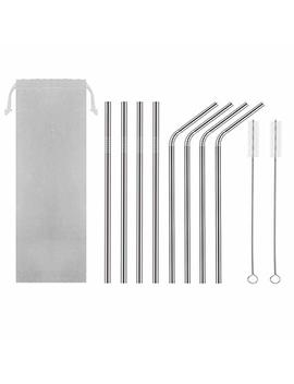 Hahome Fda Approved Extra Long 8.5'' Stainless Steel Drinking Straws,Reusable Metal Drinking Straws (4 Straight + 4 Bent + 2 Brushes) by Amazon