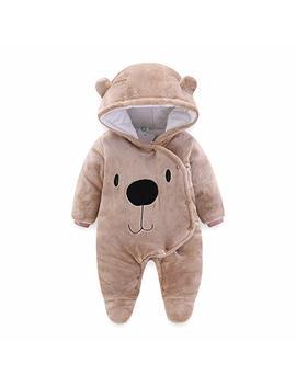 Allaibb Newborn Baby Warm Footie Romper Fleece Thick Jumpsuit Winter Outerwear Bear by Amazon