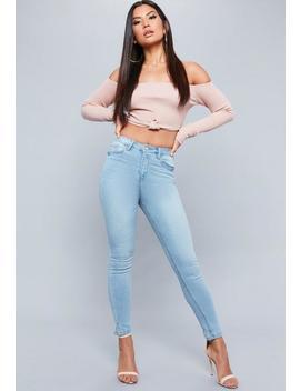 Blue Sinner Super Soft Split Hem Skinny Jeans by Missguided
