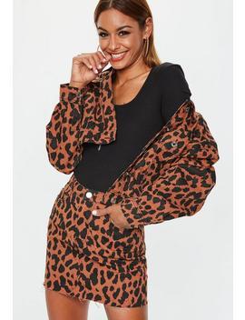 Rust Leopard Denim Mini Skirt by Missguided