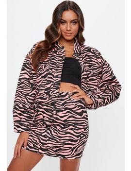 Pink Zebra Print Denim Skirt by Missguided
