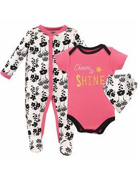 Luvable Friends Baby Girls Baby Sleeper, Bodysuit And Bandana Bib Set by Amazon