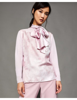 Silk Front Tie Neck Jumper by Ted Baker