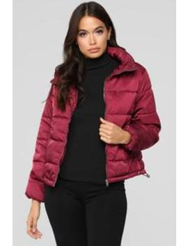 On The Cold Side Puffer Jacket   Burgundy by Fashion Nova