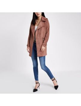 Pink Faux Suede Longline Trench Coat by River Island