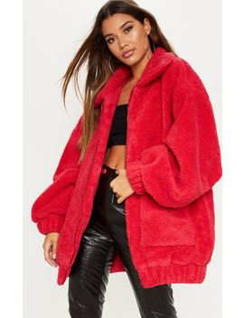 Red Borg Pocket Front Coat  by Prettylittlething