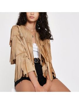 Beige Faux Suede Fringe Jacket by River Island