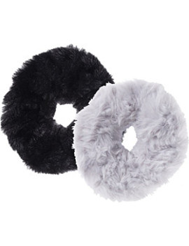 Black/Grey Faux Fur Scrunchies 2 Ct by Kitsch