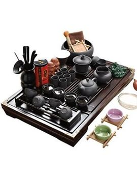 Chinese Ceramic Kung Fu Tea Set W/ Wooden Tray Tea Tools, Gift Home Office Use by Ufengke Ts