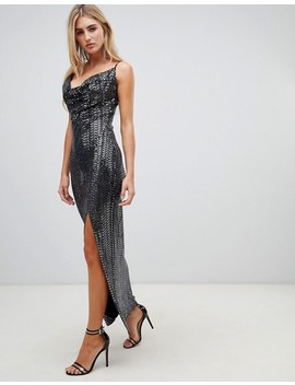 Missguided Sequin Cowl Neck Maxi Dress With Side Split In Black by Missguided