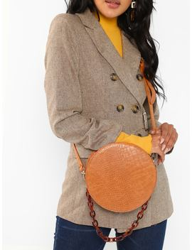 Croc Embossed Faux Leather Circle Crossbody Bag by Sheinside