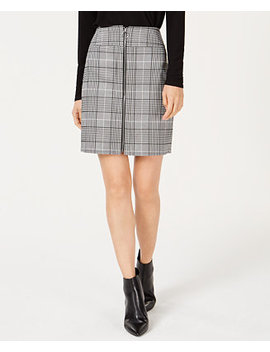 I.N.C. Petite Plaid Zip Front Mini Skirt, Created For Macy's by Inc International Concepts