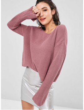 Plain Bell Sleeve Sweater   Dull Purple L by Zaful