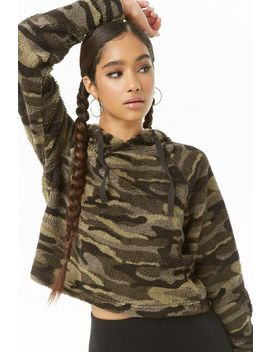 Camo Faux Fur Hoodie by Forever 21