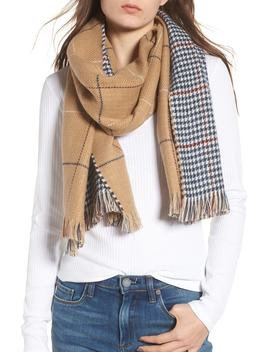 Reversible Houndstooth & Grid Scarf by Bp.