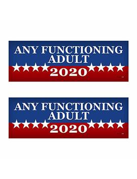 "2 Pack! Any Functioning Adult 2020 Funny Bumper Sticker 3"" X 9"" Car Truck Vinyl Decal Political Presidential Election Made In Usa by Blue Moon Graphics"