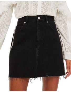 Leopard Stripe Denim Skirt by Topshop